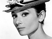 Movies Photo Framed Prints - Audrey Hepburn Portrait Framed Print by Sanely Great