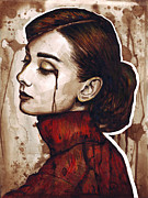 Portrait Mixed Media Metal Prints - Audrey Hepburn Portrait Metal Print by Olga Shvartsur