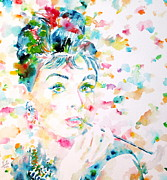 Audrey Hepburn Paintings - Audrey Hepburn Portrait.3 by Fabrizio Cassetta