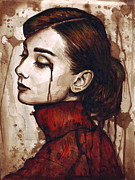 Brown Mixed Media Metal Prints - Audrey Hepburn - Quiet Sadness Metal Print by Olga Shvartsur