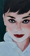 Brown Hair Posters - Audrey Hepburn Poster by Shirl Theis