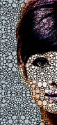 Celebrity Mixed Media Posters - Audrey Hepburn - Stone Rockd Art By Sharon Cummings Poster by Sharon Cummings