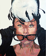 Movie Art Paintings - Audrey Hepburn by Tom Roderick