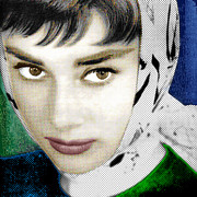 Actors Mixed Media Prints - Audrey Hepburn Print by Tony Rubino