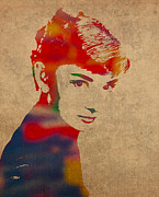 Actress Mixed Media Framed Prints - Audrey Hepburn Watercolor Portrait on Worn Distressed Canvas Framed Print by Design Turnpike