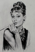Actors Drawings Posters - Audrey Hepburn Poster by Ylli Haruni