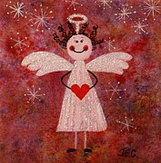 Jane Chesnut Prints - Audrey the angel Print by Jane Chesnut