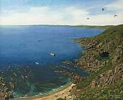 Seagulls Paintings - August Afternoon at Whitsand Bay Cornwall by Richard Harpum