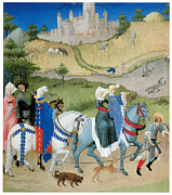 Horse And Riders Posters - August from les Tres riches  Poster by Limbourg Brothers