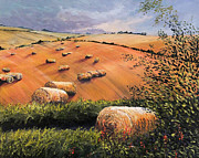Bales Paintings - August Hay bales on Wolds by Tony Hogan