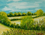 English Watercolor Paintings - August Landscape Suffolk by Joan Thewsey
