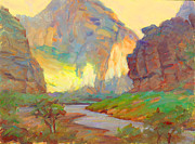 Oil Pastels Paintings - August on the Rogue River Zion by Ernest Principato