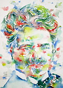 Novelist Paintings - AUGUST STRINDBERG - watercolor portrait by Fabrizio Cassetta