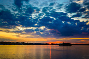 Refelctions Photos - August Sunset Over Lake Nagawicka by Randy Scherkenbach