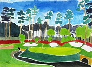 Pga Paintings - Augusta 13th Georgia - Amen Corner by Lesley Giles