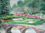 Watercolor Sports Art Paintings - Augusta National 12th Hole by Deborah Ronglien