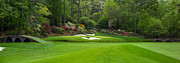 Bridge Photo Framed Prints - Augusta National Golf Club Hole 12 Golden Bell Panoramic Framed Print by Phil Reich