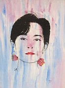 Human Rights Painting Framed Prints - Aung San Suu Kyi Framed Print by Pg Reproductions