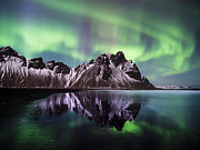 Runolfur Hauksson Prints - Aurora at midnight Print by Runolfur Hauksson