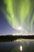 Yukon River Framed Prints - Aurora Borealis And Full Moon Framed Print by Joseph Bradley