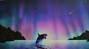Aurora Art Paintings - Aurora Borealis and Whale by Thomas Kolendra