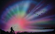 Aurora Art Paintings - Aurora Borealis gone fishing by Thomas Kolendra