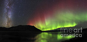 Reflection In Water Posters - Aurora Borealis Milky Way And Big Poster by Joseph Bradley