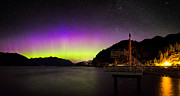 Water Reflections Photos - Aurora Borealis near Vancouver by Alexis Birkill