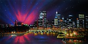 Black Light Art Painting Originals - Aurora Borealis over Quebec by Thomas Kolendra