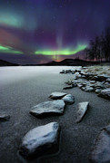 Rock Prints - Aurora Borealis Over Sandvannet Lake Print by Arild Heitmann