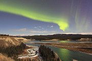 Yukon Framed Prints - Aurora Borealis Over The Yukon River Framed Print by Joseph Bradley
