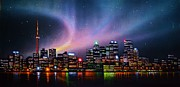 City Skylines Paintings - Aurora Borealis over Toronto Skyline by Thomas Kolendra