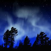 Night Sky Painting Framed Prints - Aurora Borealis Wall Mural Framed Print by Frank Wilson