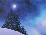 Original Oil On Canvas Prints - Aurora Borealis Winter Print by Cecilia  Brendel