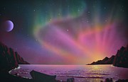 Row Boat Prints - Aurora Borealis with lobster cage Print by Thomas Kolendra