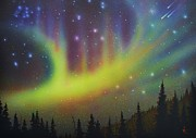 Aurora Art Paintings - Aurora Borealis yellow streak by Thomas Kolendra