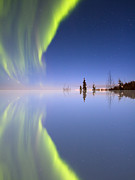 Northern Lights Prints - Aurora Mirrored Print by Ed Boudreau