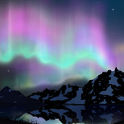 Landscapes Digital Art Originals - Aurora Over Lake by Atiketta Sangasaeng
