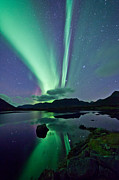 Winter Night Framed Prints - Aurora raising II Framed Print by Frank Olsen