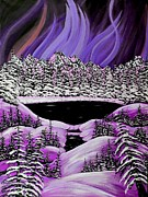 Snow And Night Sky Framed Prints - Auroras Purple Display Framed Print by Barbara Griffin
