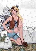 Pens Drawings Posters - Aussie Fairy in the Outback -- Tending Her Sheep Poster by Sherry Goeben