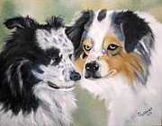 Canine Paintings - Aussies by Debbie LaFrance