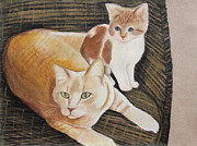 Domestic Animals Pastels - Austi and Friend by Jeanne Fischer
