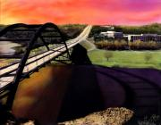 Austin Tapestries Textiles - Austin 360 Bridge by Marilyn Hunt