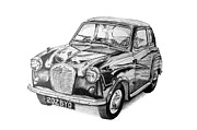 Austin Drawings Originals - Austin A35 by Benjamin Self