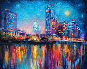 Reflections In Water Drawings Prints - Austin Art impressionistic skyline painting #2 Print by Svetlana Novikova