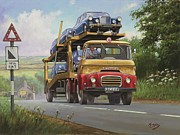 1960 Painting Posters - Austin Carrimore transporter Poster by Mike  Jeffries