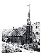 Austin Drawings Originals - Austin Church by Joseph Juvenal