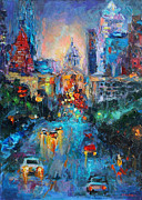 City At Night Paintings - Austin City congress avenue painting downtown by Svetlana Novikova