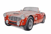 Austin Drawings Originals - Austin Healey 3000 by Benjamin Self